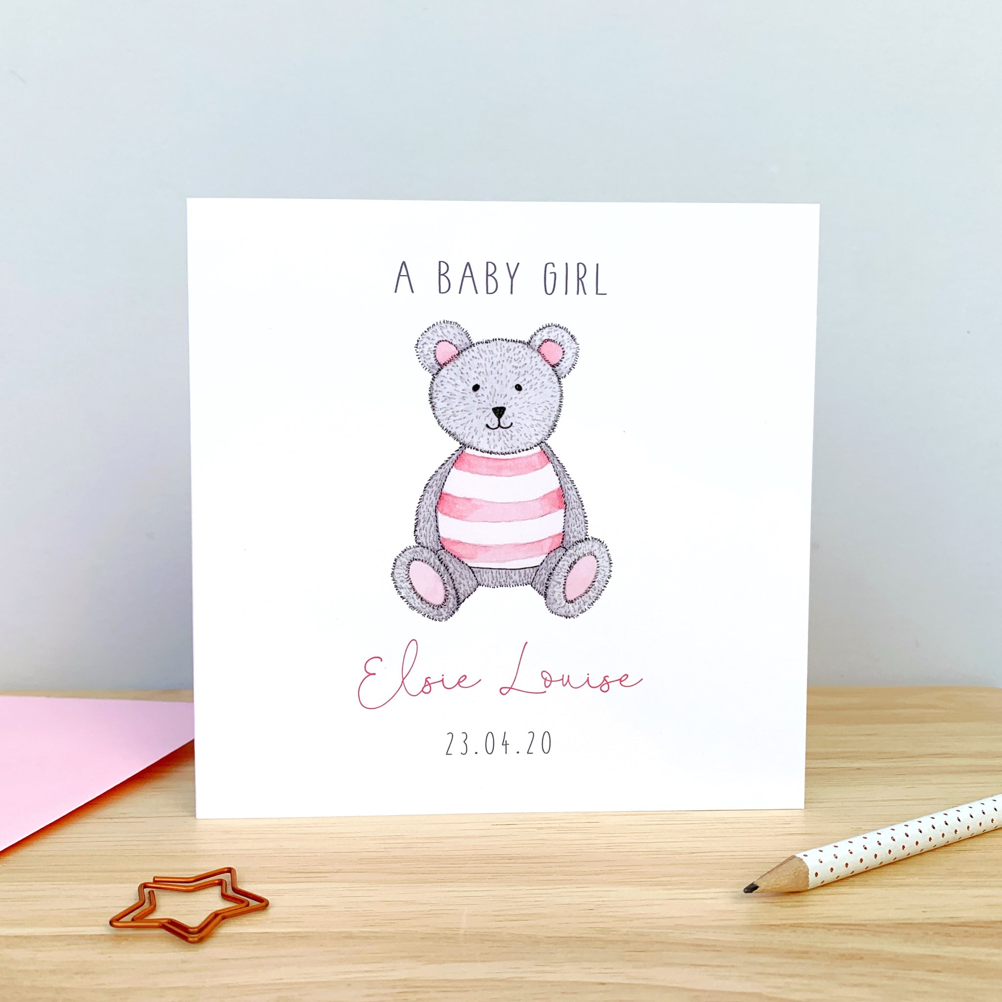 Personalised New Baby Girl Card - teddy bear