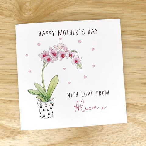 Handmade Personalised Mother's Day Card - Orchid
