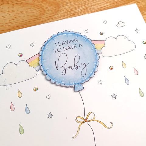 Personalised Leaving To Have A Baby Card – Blue Balloon For A Boy