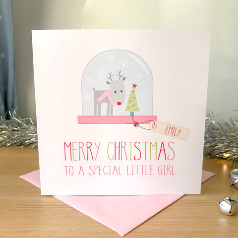 Handmade Personalised Girls Christmas Card - Reindeer Snow Globe
