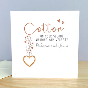 Personalised Cotton Wedding Anniversary Card – 2nd Anniversary Cards