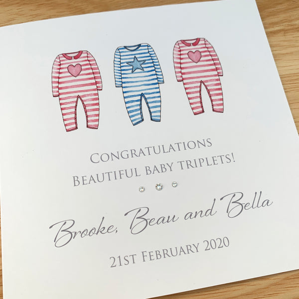 Personalised Baby Triplets Card