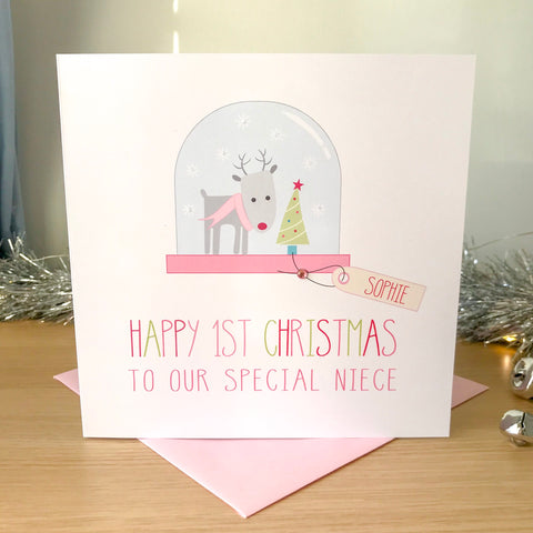 Handmade Personalised Girls 1st Christmas Card -