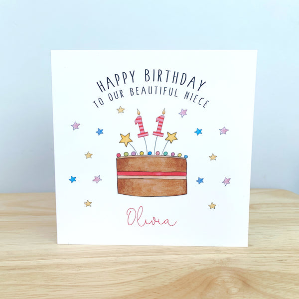 Personalised Girls Birthday Card - Any Age