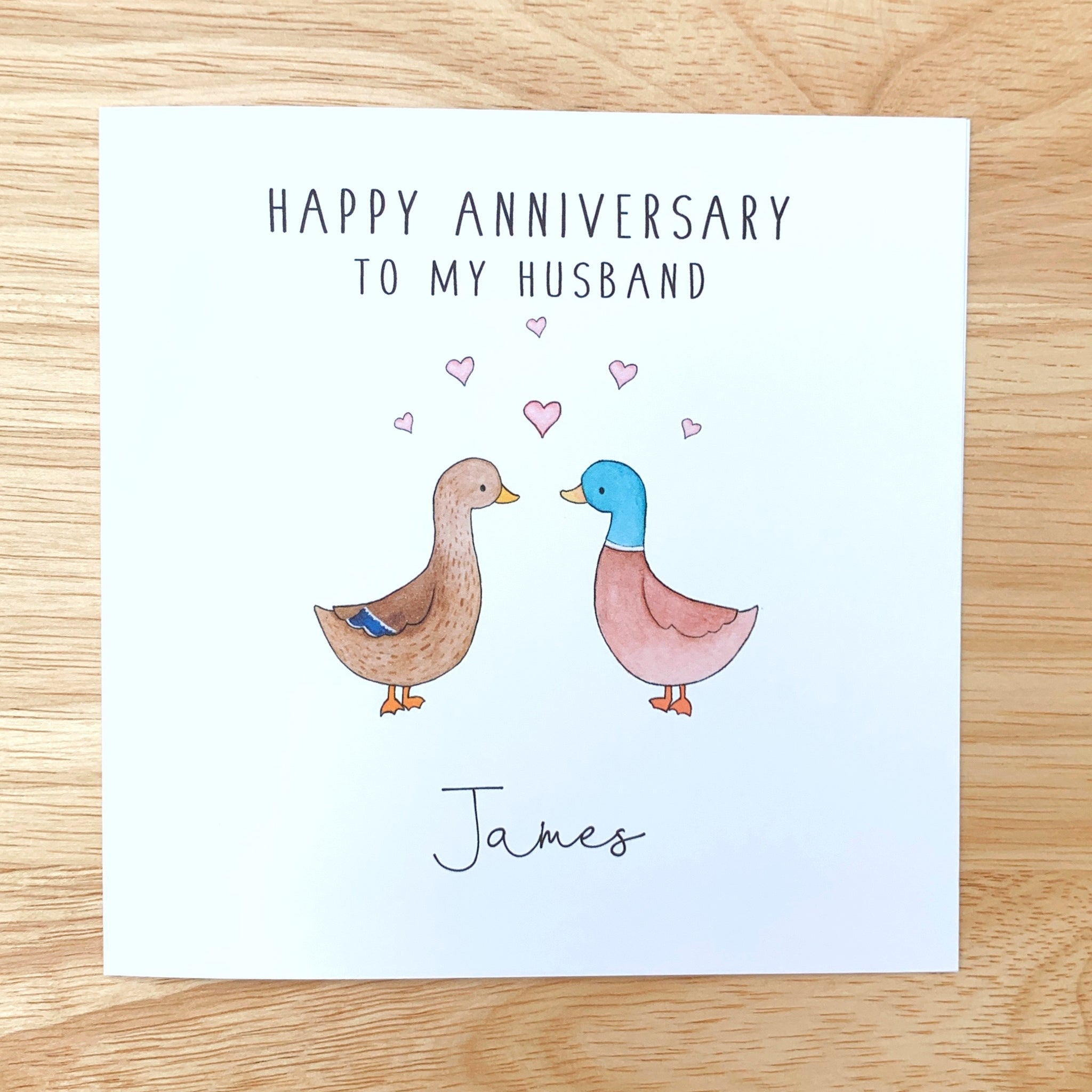 Personalised Ducks Anniversary Card