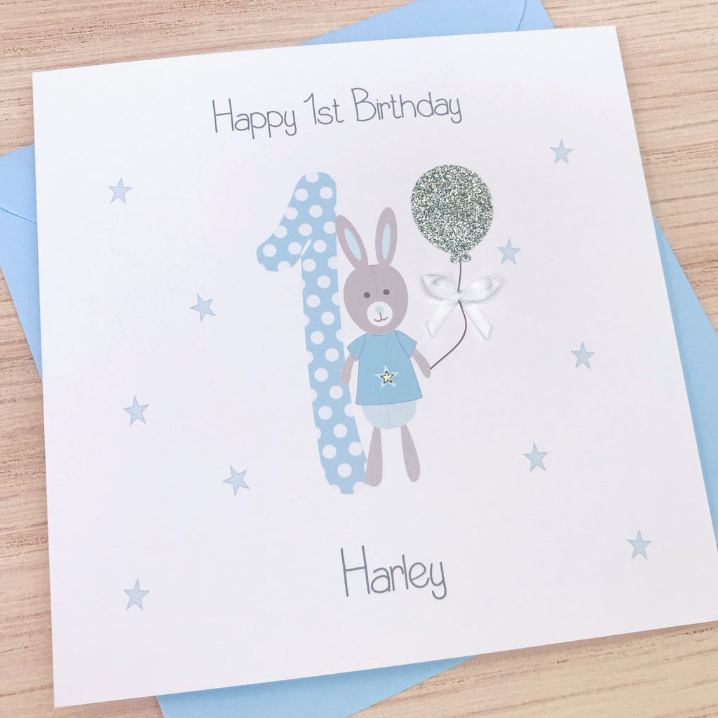 Handmade Personalised Boys 1st Birthday Card