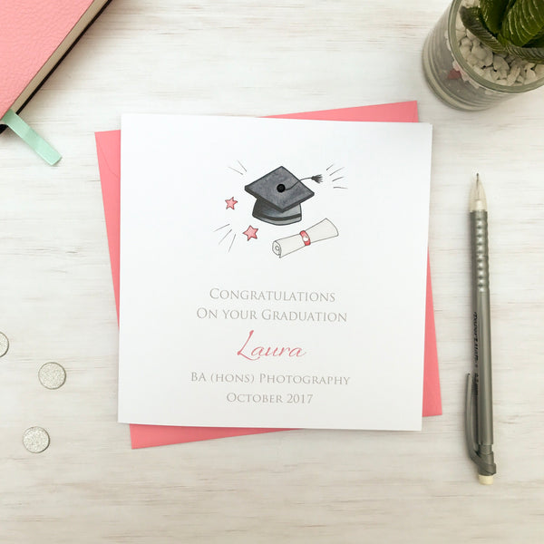 Handmade Personalised Graduation Card - Pink