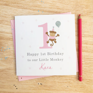 Handmade Personalised Girls Birthday Card – Monkey 1st, 2nd, 3rd, 4th, 5th