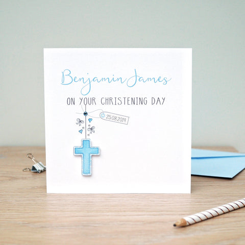 Handmade Personalised Christening Card  - Boys Christening Card