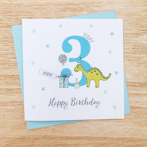 Personalised Handmade Dinosaur Boys Birthday Card, 1st, 2nd, 3rd, 4th, 5th, 6th, 7th, 8th