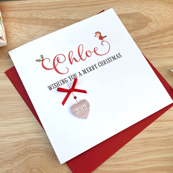 Personalised Handmade Christmas Card with Name