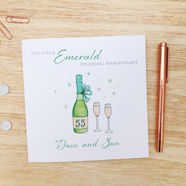 Handmade Personalised Emerald Wedding Anniversary Card – 55th Anniversary Cards