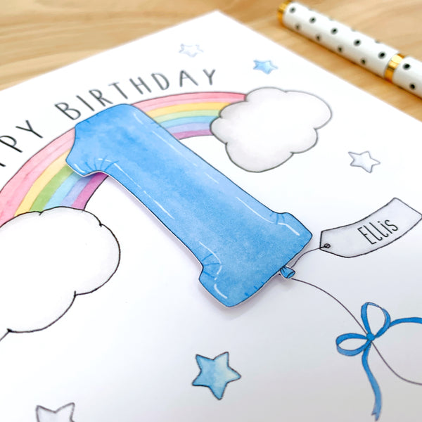 Personalised Boys Rainbow Birthday Card - 1st, 2nd, 3rd, 4th, 5th, 6th, 7th, 8th, 9th