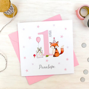 Personalised Girls Birthday Card – Fox. 1st 2nd, 3rd, 4th, 5th