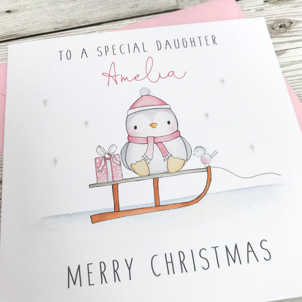 Personalised Girls Christmas Card - Penguin Christmas cards