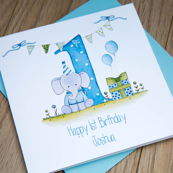 Personalised Boys 1st Birthday Card - Elephant