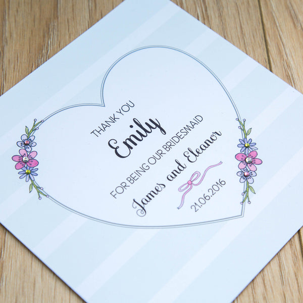 Personalised Bridesmaids Thank You Cards