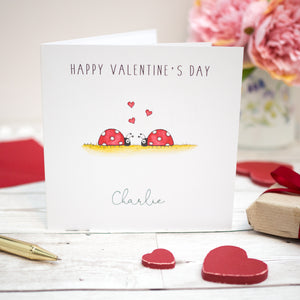 Personalised Valentine's Day Card - Ladybirds