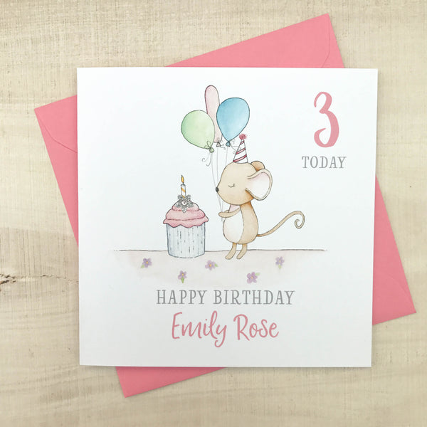 Personalised Handmade Children's Birthday Card – Mouse 1st, 2nd, 3rd, 4th