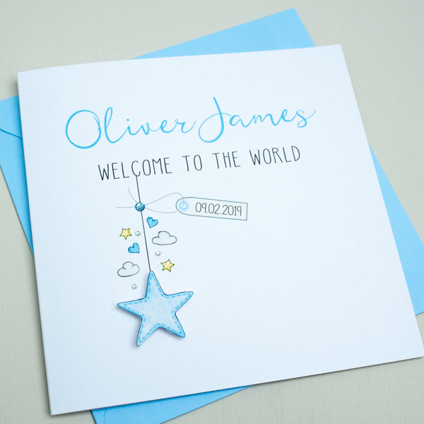 Handmade Personalised Baby Boy Card - Welcome to the World Card - New Baby Card