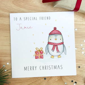 Personalised Christmas Card - Penguin
