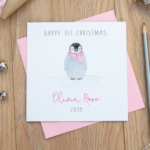 Personalised Girls 1st Christmas Card - First Christmas Card - Penguin