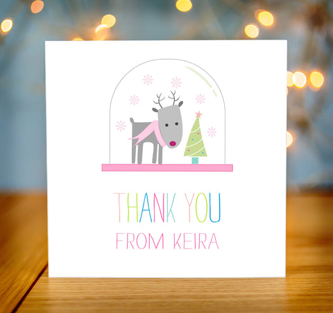 Personalised Childrens Christmas Thank You Cards pack of 10 pink