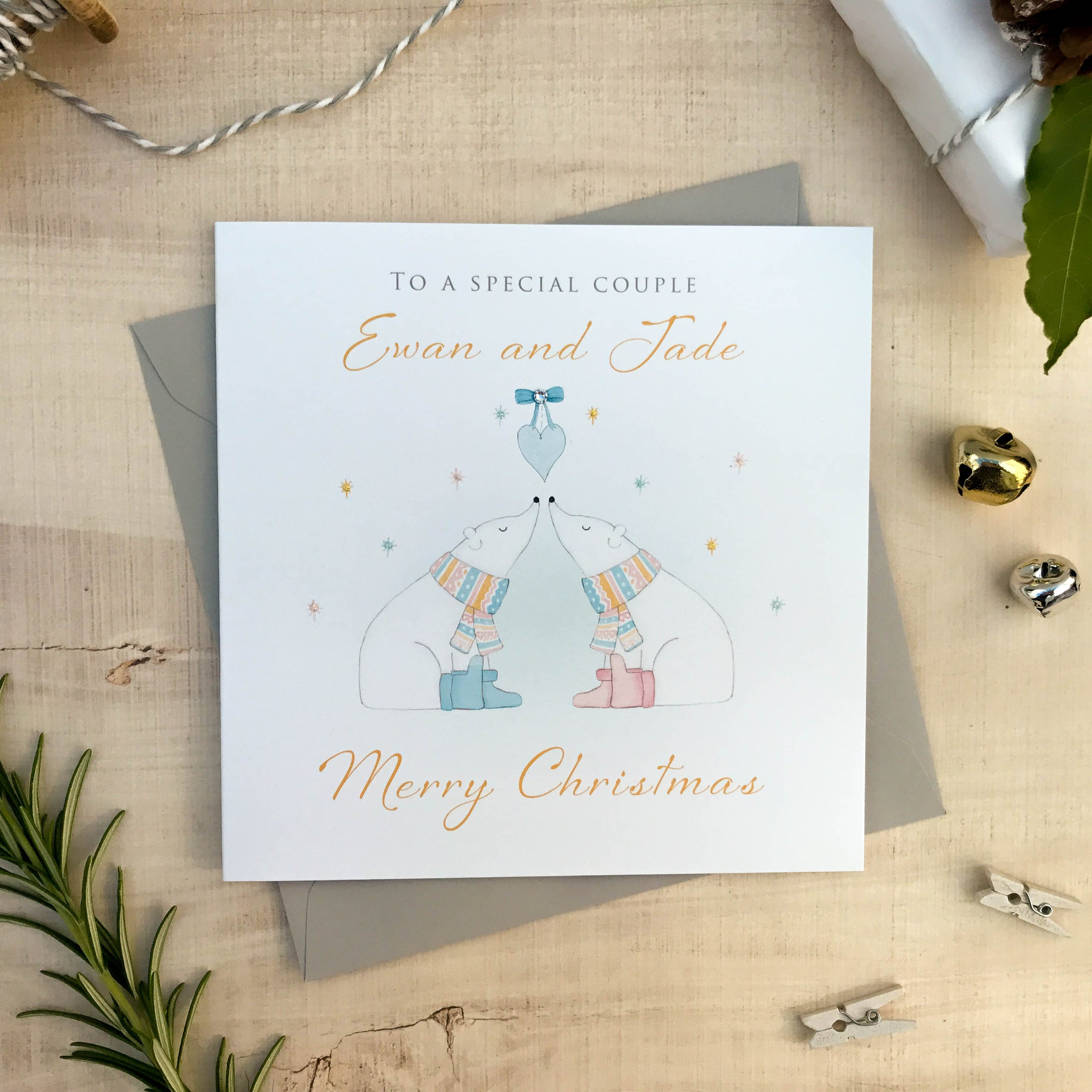 Personalised Couple Christmas Card - Polar Bears