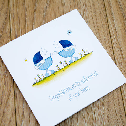 Handmade Personalised New Baby Twins Card