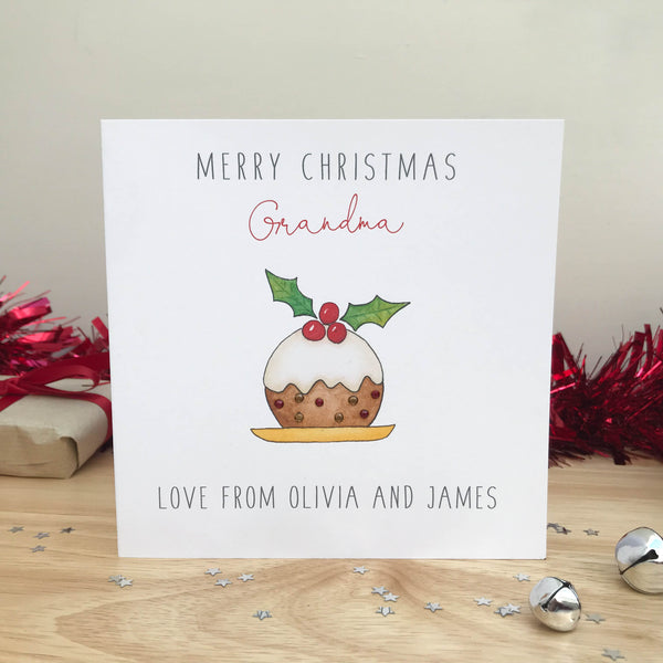 Personalised Christmas Card - Christmas Pudding Card