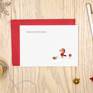 Personalised Christmas Notecards - Thank You Cards - Robin