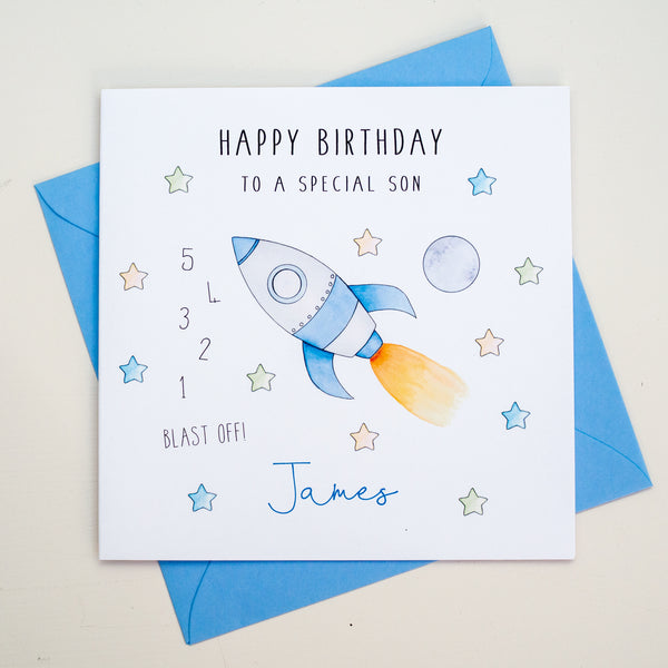Personalised Boys Birthday Card – Rocket Birthday Card