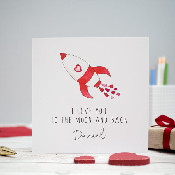 Personalised Valentine's Day Card - I love you to the moon and back