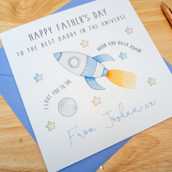 Personalised Father's Day Card - Rocket Love you to the moon and back