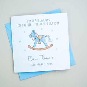 Personalised New Grandparents Card - New Grandson Card