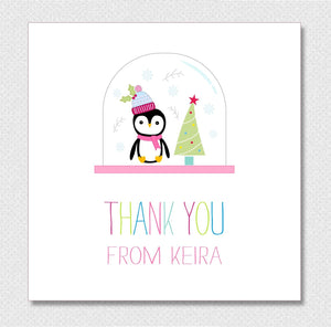 Personalised Christmas Thank You Card Packs - Penguin Snow globe