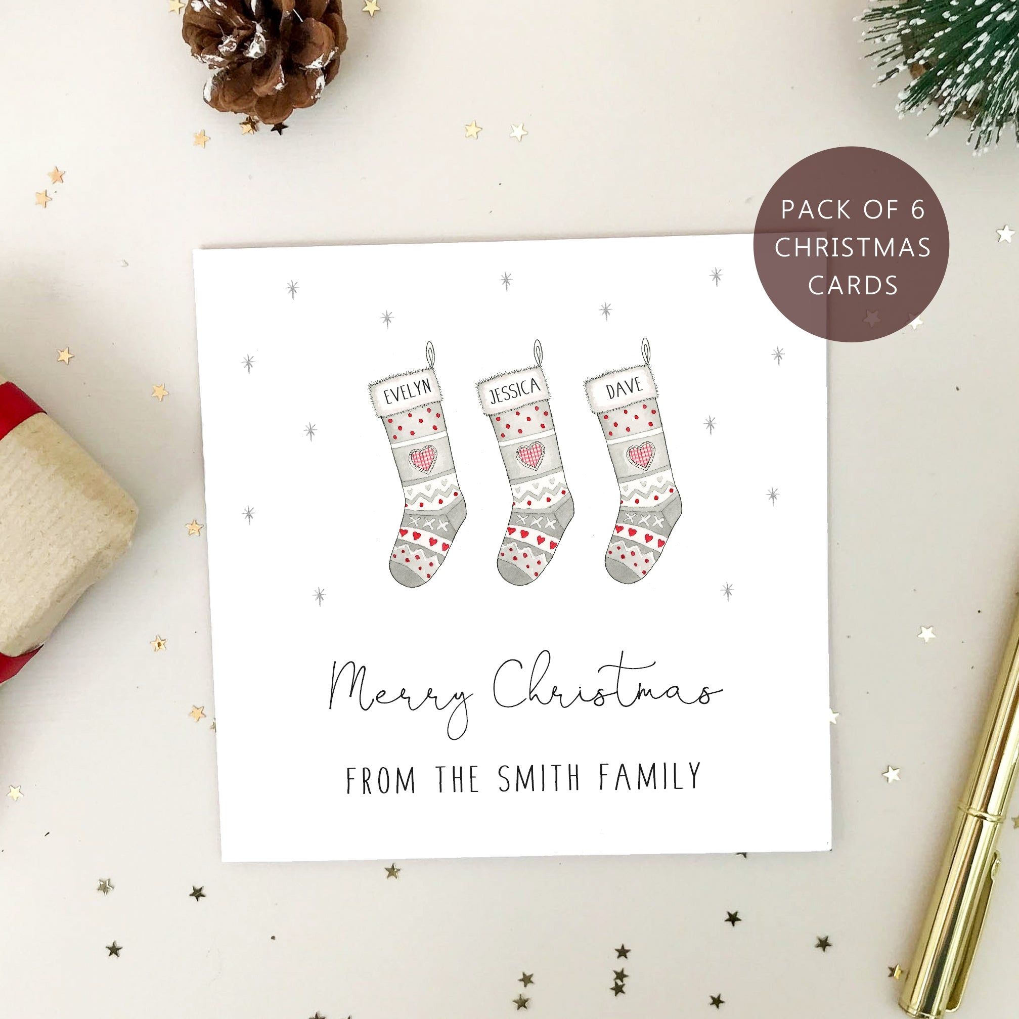 Personalised Family Christmas Card Packs - Pack of Stocking Christmas Cards
