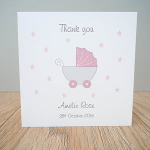 Personalised New Baby Girl Thank You Cards – Folded pack of 10