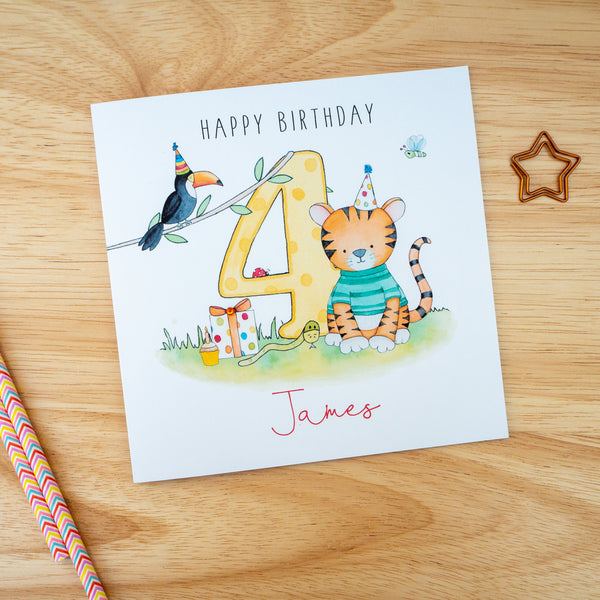 Personalised Birthday Card – Tiger - Any Age