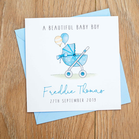 Personalised Baby Boy Card - New Baby Boy Card