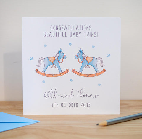 Personalised Baby Twins Card - Rocking Horses