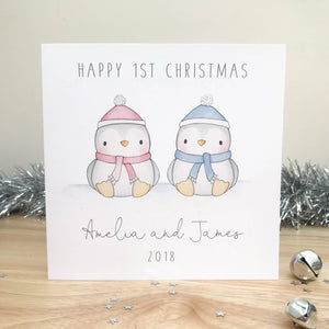 Personalised Twins First Christmas Card - Penguins