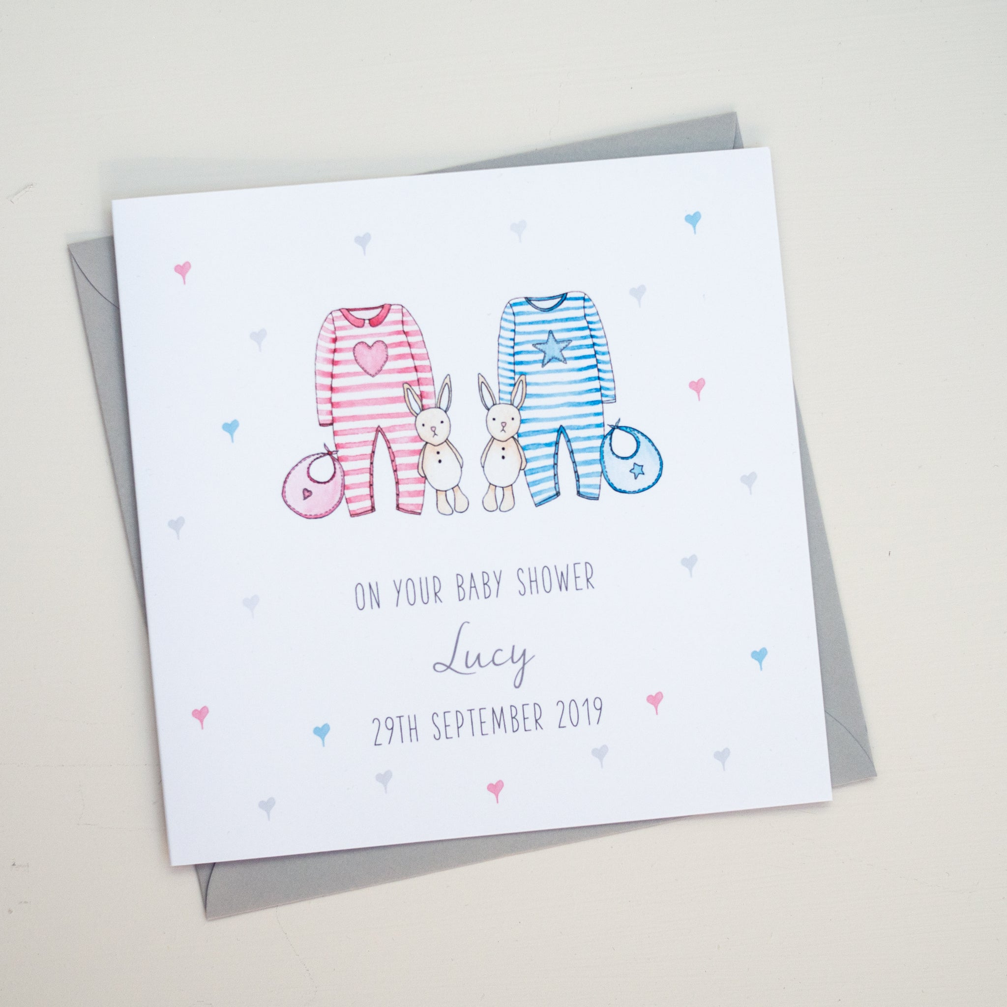 Personalised Twins Baby Shower Card - On your baby shower card