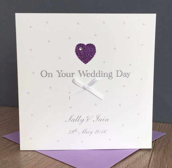 Personalised Handmade Wedding Card – Glitter Heart