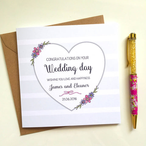 Personalised Handmade Wedding Card – Heart and Flowers