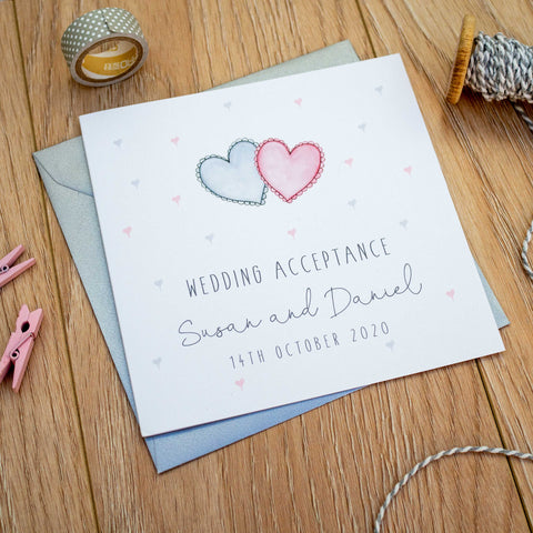 Personalised Wedding Acceptance Card