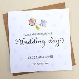 Personalised Wedding Card -Bouquet and Hat