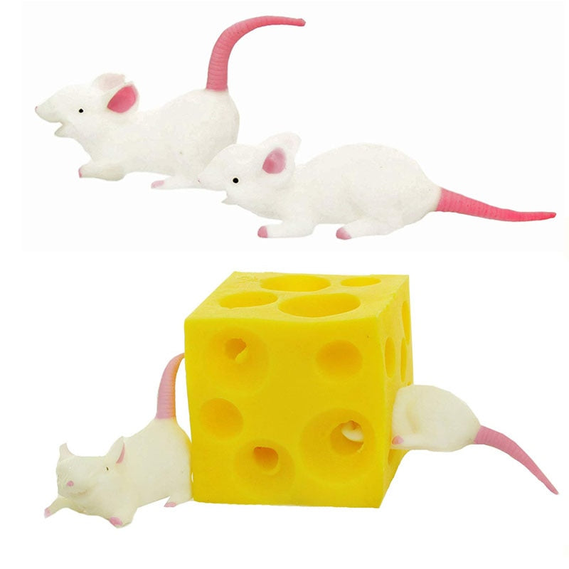 Mouse and Cheese Toy  Sloth Hide and Seek Stress Relief Toy 2 Squishable Figures And Cheese Block Stressbusting Fidget Toys