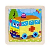 Mini Size 11*11CM Kids Toy Wood Puzzle Wooden 3D Puzzle Jigsaw for Children Baby Cartoon Animal/Traffic Puzzles Educational Toys
