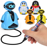 Drawn Line Magic Pet Toy Robot Pen Inductive Penguin Animal Cat Follow Black Track Map Auto Selfie Run Cute Electric Gift fo Kid
